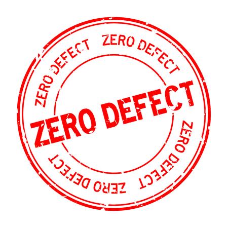 Grunge red zero defect word round rubber seal stamp on white background Çizim