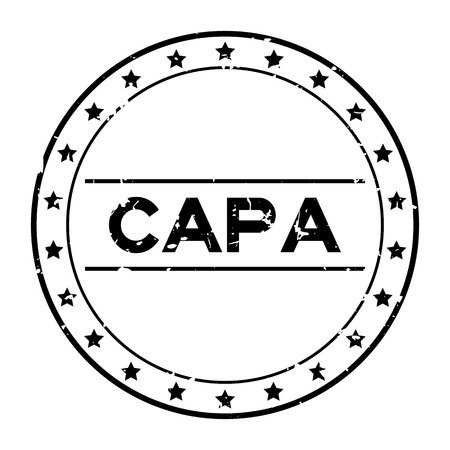 Grunge black CAPA (abbreviation of corrective action and preventive action) word round rubber seal stamp on white background