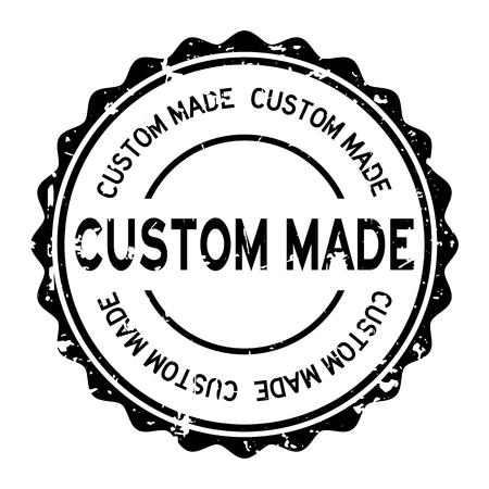 Grunge black custom made word round rubber seal stamp on white background