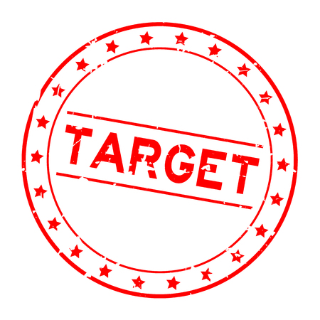 Grunge red target word round rubber seal stamp on white background