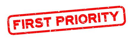 Sello de grunge rojo palabra de primera prioridad cuadrado goma sello sobre fondo blanco. Ilustración de vector