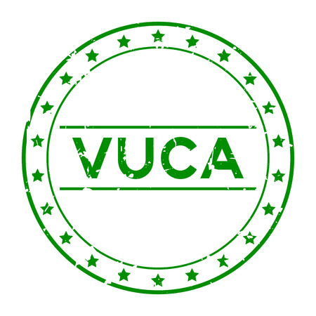 Grunge green vuca (abbreviation of Volatility, uncertainty, complexity and ambiguity) word round rubber seal stamp on white background
