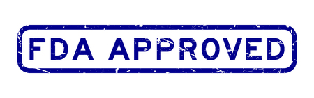 Grunge blue FDA approved word square rubber seal business stamp on white background