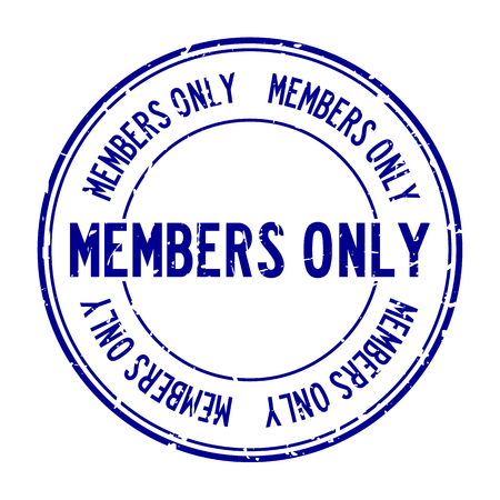 Grunge blue members only word round rubber seal stamp on white background Illustration