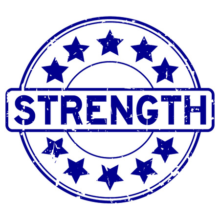 Grunge blue strength word with star icon round rubber seal stamp on white background