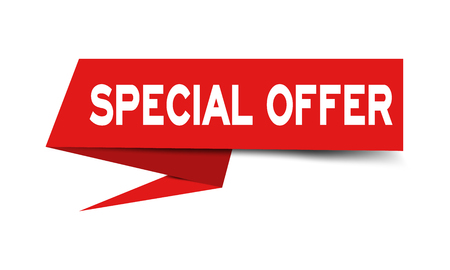 Red paper speech banner with word special offer on white background (Vector) Banque d'images - 125328636