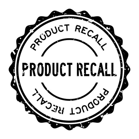 Grunge black product recall word round rubber seal stamp on white background Archivio Fotografico - 125294900