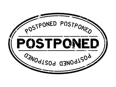 Grunge black postponed word oval rubber seal stamp on white background Archivio Fotografico - 125294902