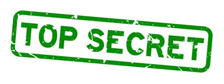 Grunge green top secret word square rubber seal stamp on white background Illustration