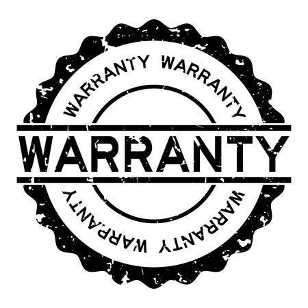 Grunge black warranty word round rubber seal stamp on white background