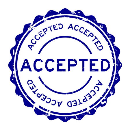 Grunge blau akzeptiert Wort runden Siegelstempel auf weißem Hintergrund