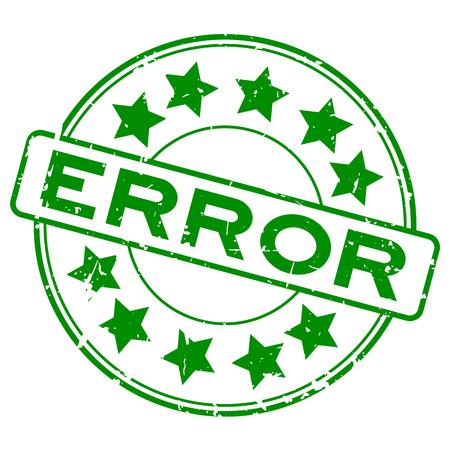 Grunge green error word with star icon round rubber seal stamp on white background Çizim
