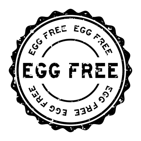 Grunge black egg free word round rubber seal stamp on white background Vectores