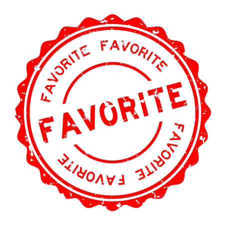 Grunge red favorite word round rubber seal stamp on white background