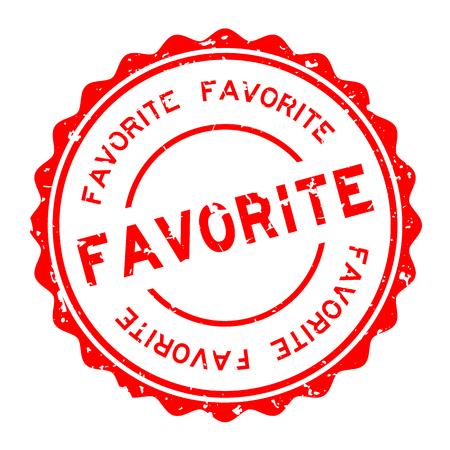 Grunge rojo palabra favorita redonda sello de goma sello sobre fondo blanco. Ilustración de vector