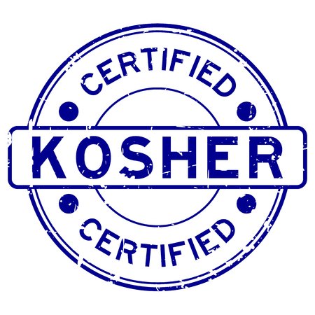 Grunge bleu casher certifié mot joint en caoutchouc rond stamp sur fond blanc Vecteurs