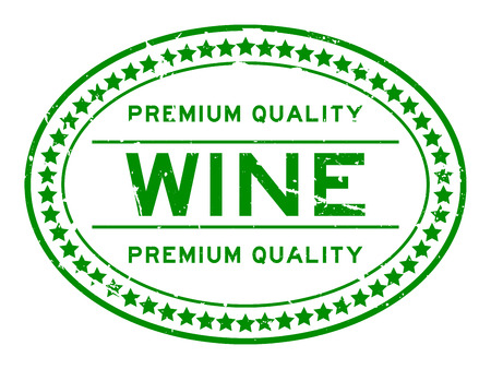 Grunge green premium quality wine oval rubber seal stamp on white background