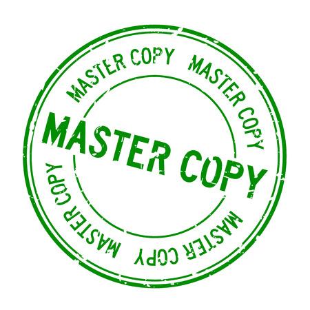 Grunge green master copy word joint en caoutchouc rond stamp sur fond blanc