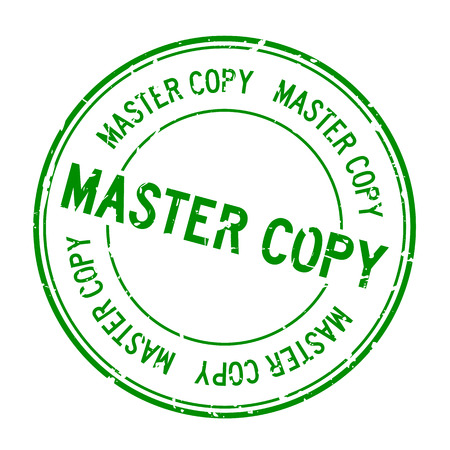 Grunge green master copy word round rubber seal stamp on white background Illustration