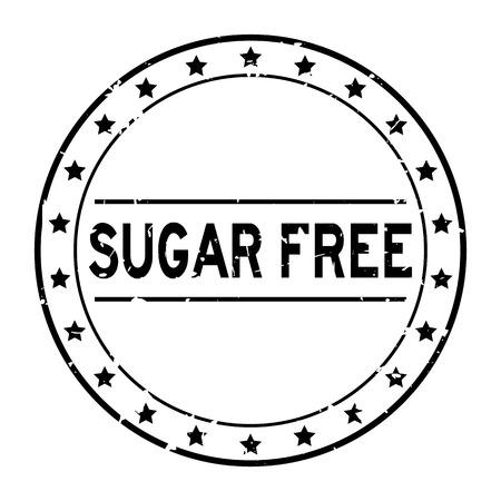 Grunge black sugar free word with star icon round rubber seal stamp on white background