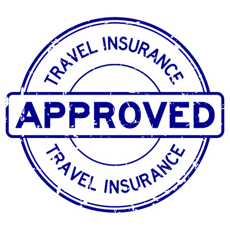Grunge blue travel insurance approved round rubber seal stamp on white background Ilustrace