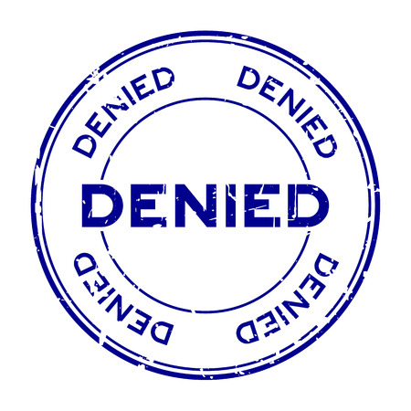 Grunge blue denied round rubber seal stamp on white background
