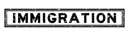 Grunge black immigration word square rubber seal stamp on white background