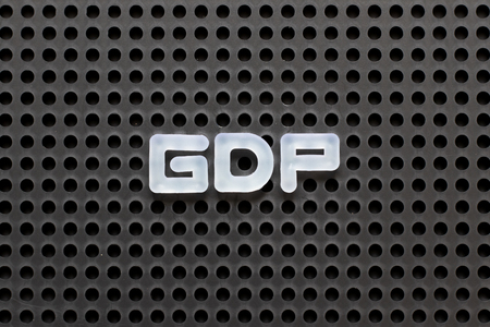 Black color pegboard with white letter in word GDP (Abbreviation of good distribution practice or gross domestic product) Stock Photo