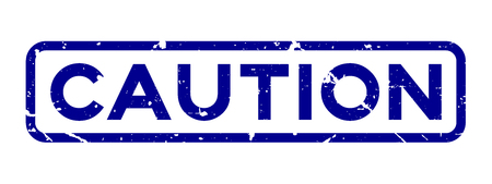 Grunge blue caution word square rubber seal stamp on white background