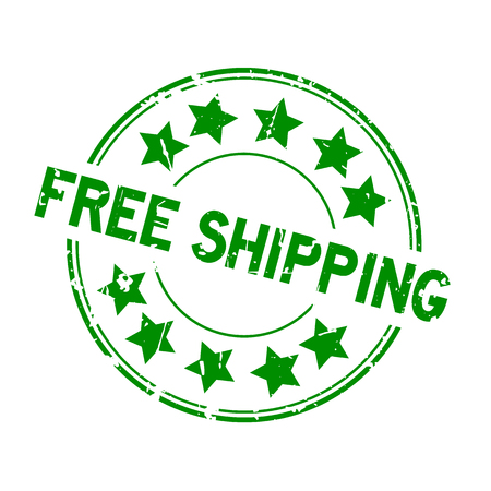 Grunge green free shipping word with star icon round rubber seal stamp on white background