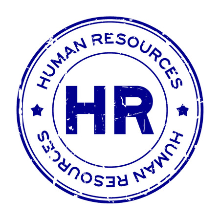Grunge blue HR word (Abbreviation of Human Resources) round rubber seal stamp on white background