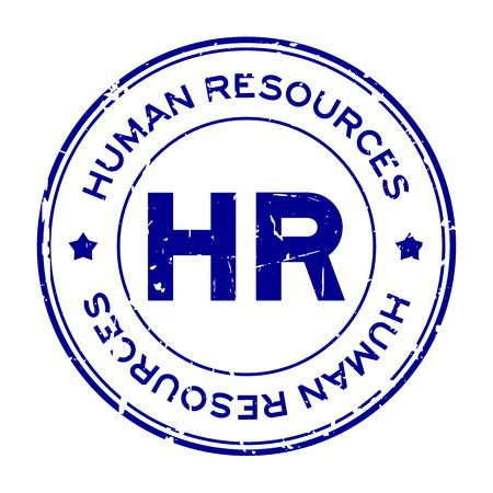 Grunge blue HR word (Abbreviation of Human Resources) round rubber seal stamp on white background