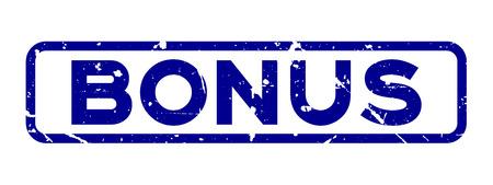 Grunge blue bonus square rubber seal stamp on white background