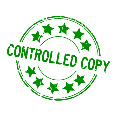Grunge green controlled copy word with star icon round rubber seal stamp on white background Illustration