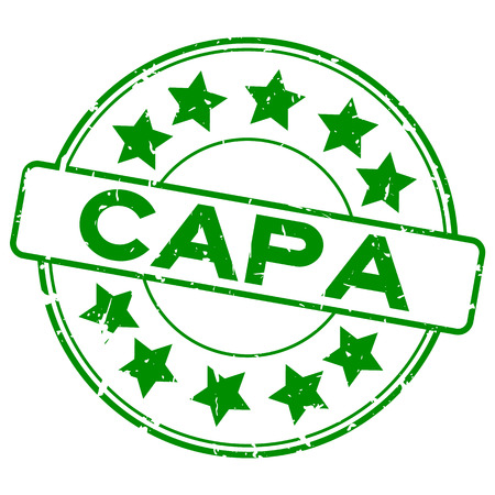 Grunge green CAPA (abbreviation of corrective action and preventive action) word with star icon round rubber seal stamp on white background