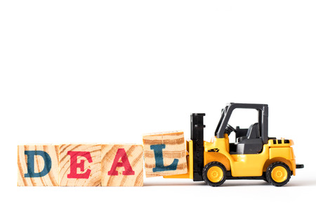 Toy forklift hold letter block l to complete word deal on white background