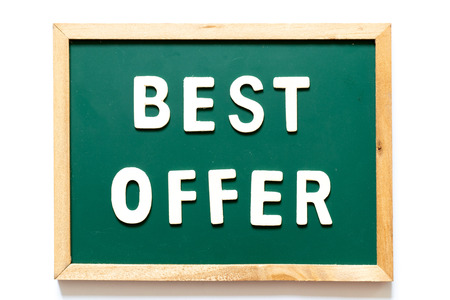 Green blackboard and wood frame with word best offer on white background Stock Photo