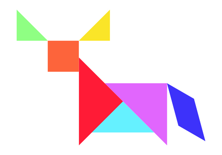 Color tangram puzzle in buffalo, ox or bull shape on white background (Vector)