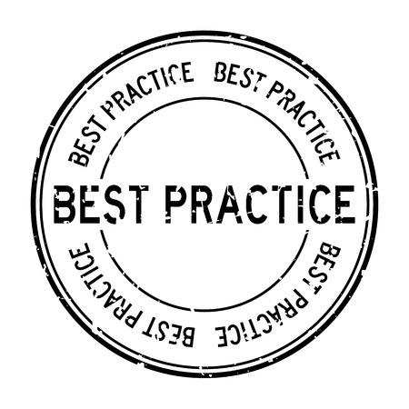 Grunge black best practice word round rubber seal business stamp on white background