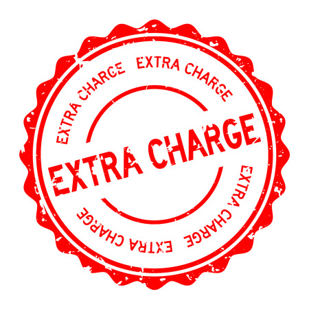 Grunge red extra charge word round rubber seal stamp on white background 向量圖像