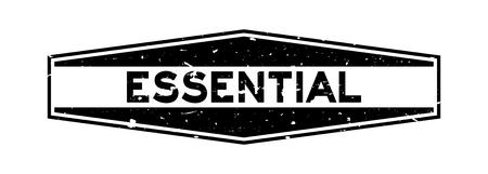 Grunge black essential word hexagon rubber seal stamp on white background