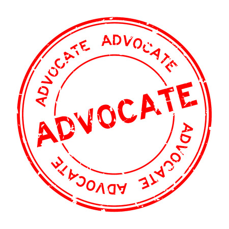 Grunge red advocate word round rubber seal business stamp on white background