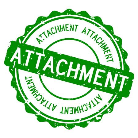 Grunge green attachment word round rubber seal stamp on white background