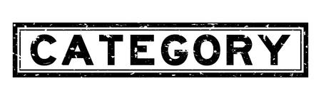 Grunge catégorie noire mot carré joint en caoutchouc stamp sur fond blanc