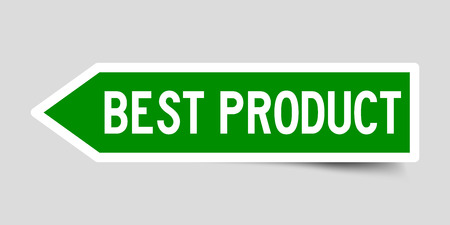 Label sticker in green color arrow shape as word best product on white background Banque d'images - 124341024