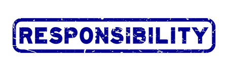 Grunge blue responsibility square rubber seal stamp on white background