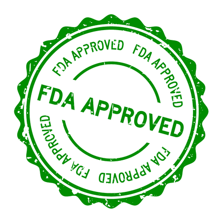 Grunge green FDA approved word round rubber seal stamp on white background