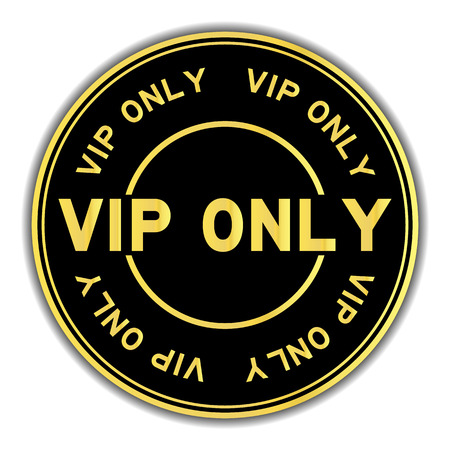 Black and gold color VIP (abbreviation very important person) onlyword round seal sticker on white background Stock Illustratie