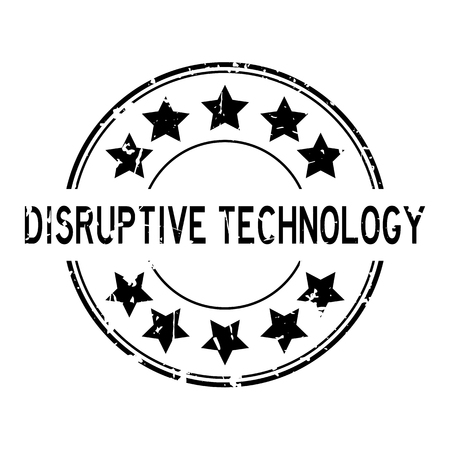 Grunge black disruptive technology word with star icon round rubber seal stamp on white background