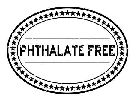 Grunge black phthalate free word oval rubber seal stamp on white background